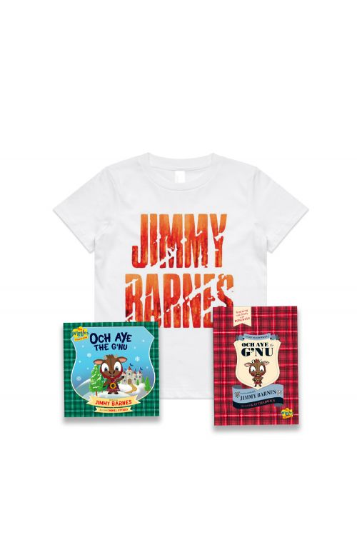 The Recorded Poems of Och Aye The G'nu/ Och Aye The G'nu and Stacked White Kids Tshirt by Jimmy Barnes