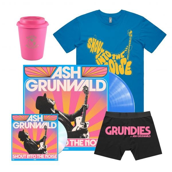 """""""Shout Into The Noise"""" Limited Edition Blue Coloured Vinyl /CD/Coffee Cup, Grundies & Exclusive Tshirt"""