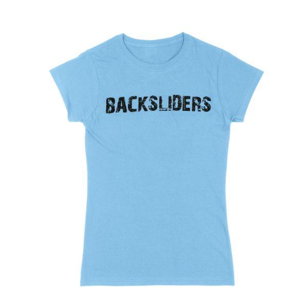 Distressed Logo Light Blue Ladies Tshirt