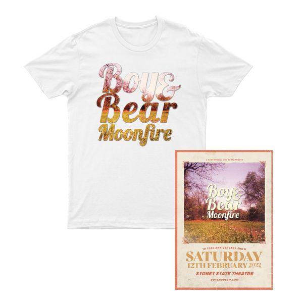 Boy & Bear Moonfire 10 Year Anniversary T Shirt/ Poster Pack