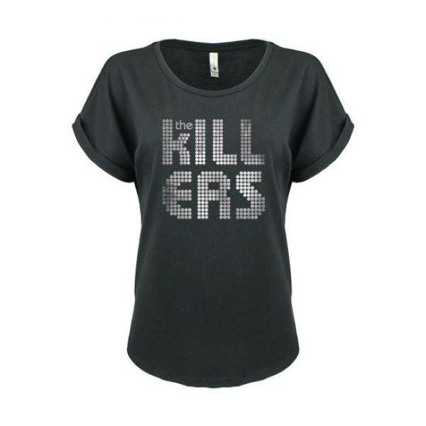 Distressed Shirt Logo Black Girls Tshirt