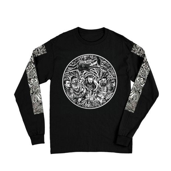 Circle Sleeves Black Longsleeve Tshirt
