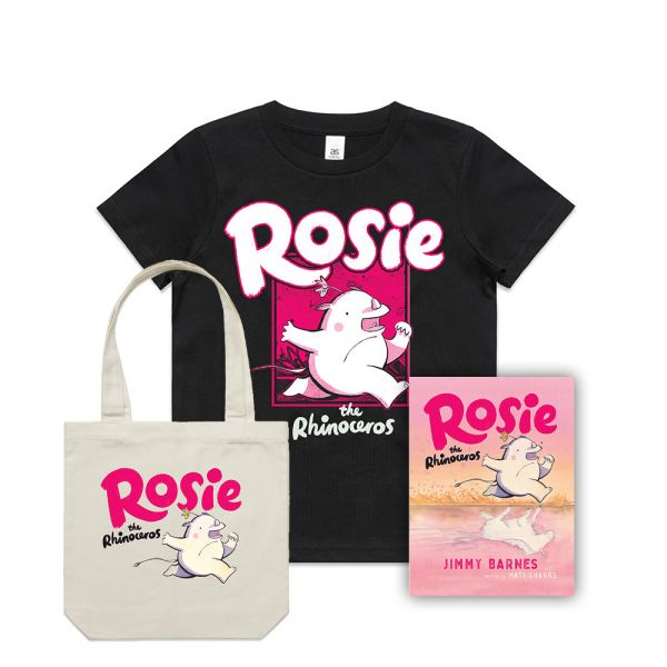 ROSIE THE RHINOCEROS (Signed Copy) ,KIDS BLACK TSHIRT & CREAM TOTE BAG